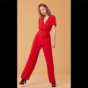 NWT DVF Purdy Jumpsuit in Candy Red, US Size 14